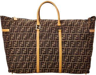 Fendi Brown Zucca Canvas Large Boston Bag