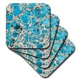 3dRose cst_48528_1 Turquoise Gemstone-Soft Coasters, Set of 4