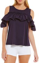 Copper Key Poplin Cold Shoulder Ruffle Sleeve Top