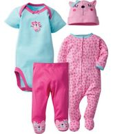 Gerber 4-Piece Leopard Bodysuit, Footie, Footed Pant, and Hat Set