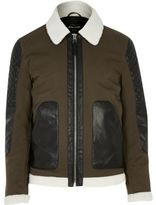 River Island MensGreen leather look panel jacket