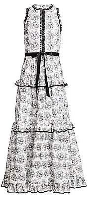 ML Monique Lhuillier Women's Tiered Floral Dress