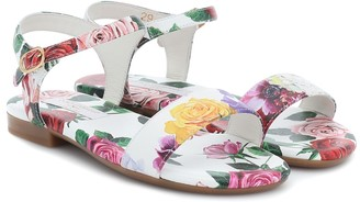 Dolce & Gabbana Kids Floral-printed leather sandals