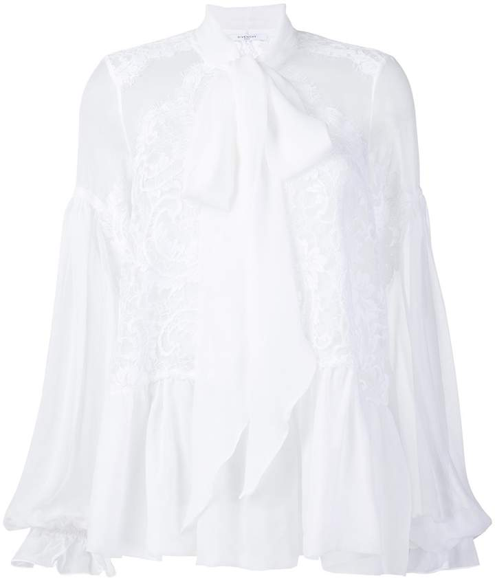 Givenchy Pussy-Bow Lace-Embroidered Silk Blouse