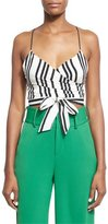 Alice + Olivia Rayna Striped Tie-Front Cropped Tank Top