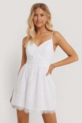 Pamela X NA-KD Recycled Thin Strap Lace Mini Dress