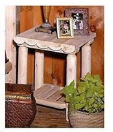 Rustic Cedar Rustic Log Style Table Nightstand in White Cedar