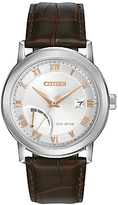 Citizen Aw7020-00a Date Power Reserve Leather Strap Watch, Brown/silver