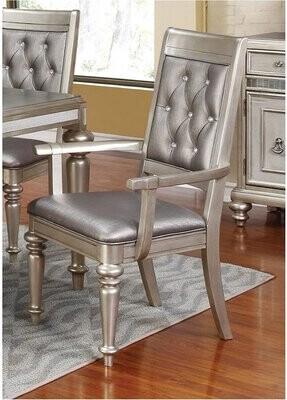 Rosdorf Park Vedder Tufted Leather Upholstered Arm Chair in Metallic Rosdorf Park