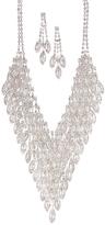 Love Rocks Crystal & Silvertone Chevron Statement Necklace & Drop Earrings