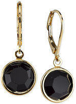 2028 Gold-Tone Faceted Jet Stone Drop Earrings