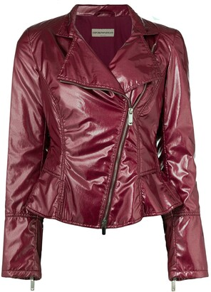 Giorgio Armani Pre-Owned 1990's Varnished Biker Jacket