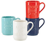Kate Spade All in Good Taste Stackable Word Stoneware Mugs, Set of 4