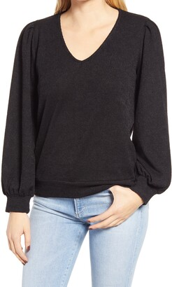 Gibson Ribbed V-Neck Sweater