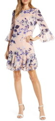 Eliza J Floral Chiffon Flounce Dress