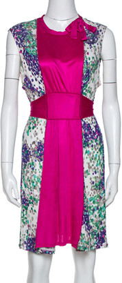 M Missoni Magenta Printed Jersey Tie Back Sleeveless Dress L
