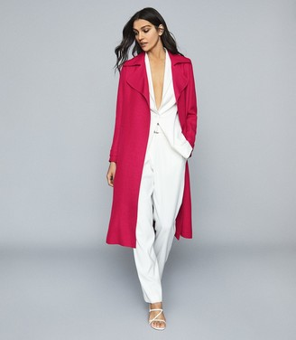 Reiss Lianna - Linen Blend Duster Coat in Magenta