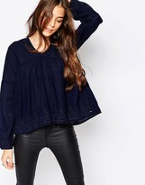 Only Denim Pleated Top