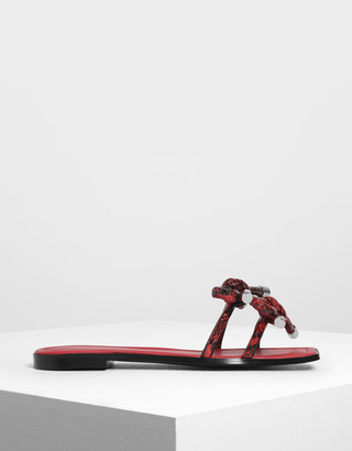Charles & Keith Snake Print Double Bow Slide Sandals
