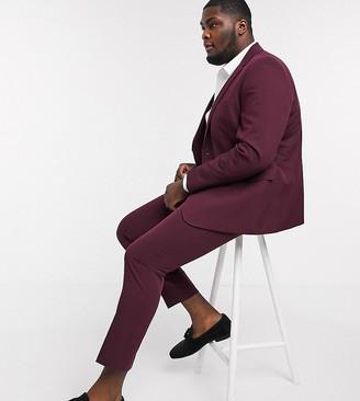 Burton Menswear Big & Tall skinny suit trousers in burgundy