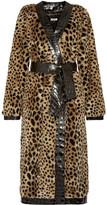 Attico Vivian Leather-trimmed Leopard-print Faux Fur Trench Coat