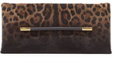 Tom Ford Ava Leopard-Print Calf Hair Clutch Bag, Black Pattern