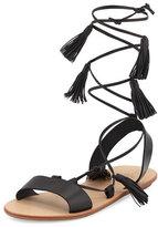 Loeffler Randall Saffron Leather Tassel Flat Sandal, Black