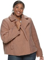 Maralyn & Me Juniors' Plus Size Cropped Teddy Jacket