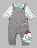 Marks and Spencer 3 Piece Bodysuit & Dungaree with Socks Outfit