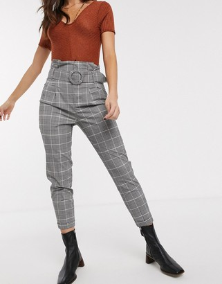 Bershka belted high waist trouser in grey check