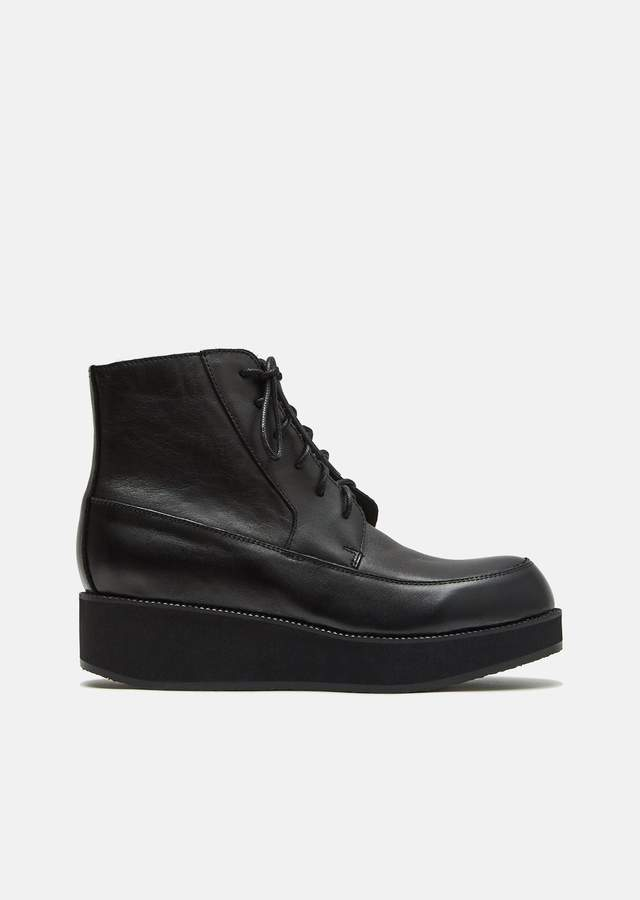Y's Oiled Leather Mocca Boots Black