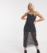 Noisy May Petite mesh maxi dress in black ditsy floral