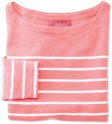 Charles Tyrwhitt Women's coral and white breton stripe jersey top
