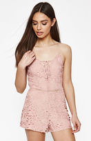 KENDALL + KYLIE Kendall & Kylie Crochet Lace-Up Romper