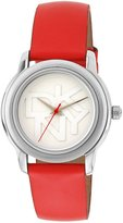 DKNY Round Silver-Tone Nude Leather Women's watch #NY8809