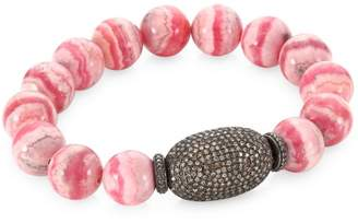 Bavna Pave Diamond Pink Agate Bead Bracelet