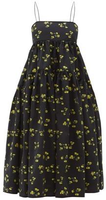 Cecilie Bahnsen - Sofie Floral Fil-coupe Cotton-blend Dress - Womens - Black Yellow