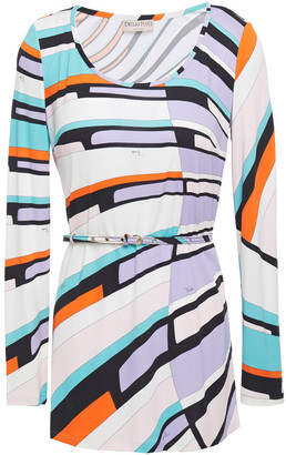 Emilio Pucci Belted Printed Jersey Top
