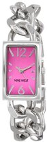 Nine West Women's NW/1575PKSB Rectangular Case Hot Pink Dial Silver-Tone Open Link Bracelet Watch