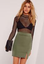 Missguided Scuba Split High Waist Mini Skirt Khaki