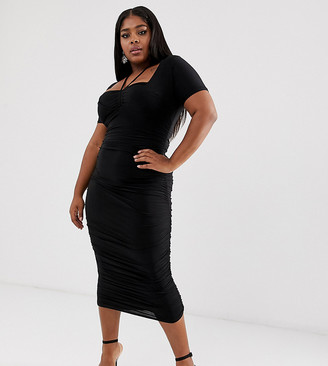 Club L London Plus ruched bra top midi dress with halterneck detail in black