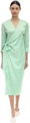 Aeryne Cowry Printed Satin Wrap Dress