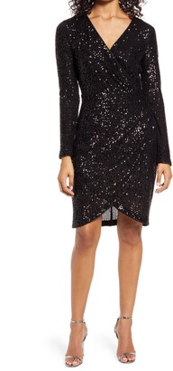 Eliza J Sequin Long Sleeve Cocktail Dress