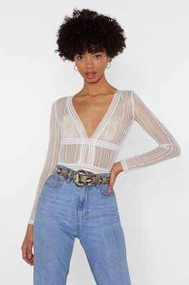 Nasty Gal Womens Sheer Me Out Lace Bodysuit - White - L