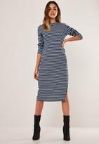 Missguided Navy Stripe Print Side Split Midi Dress