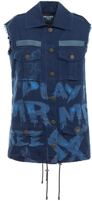 Mr & Mrs Italy Printed Light Denim Waistcoat