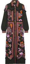 Anna Sui Posey Chiffon-Paneled Floral-Print Twill Maxi Dress