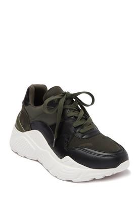 Steve Madden Reverse Leather & Suede Snake Embossed Sneaker