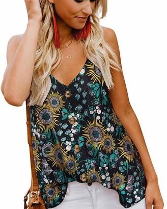 Ancapelion Women's Spaghetti Strap Vest Tank Tops Summer Black Floral Print Sleeveless Blouse Shirt for Women