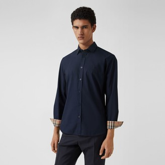 Burberry Slim Fit Monogram Motif Stretch Cotton Poplin Shirt